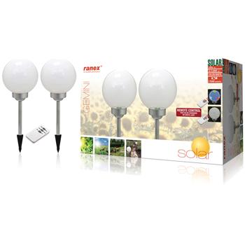 Lampa solara de gradina cu telecomanda Ranex 2 bucati